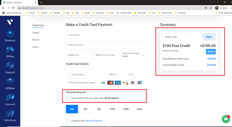 Vultr Free Credit of 100 dollars success