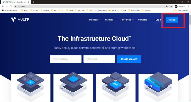 click on Vultr Free Credit sign up link