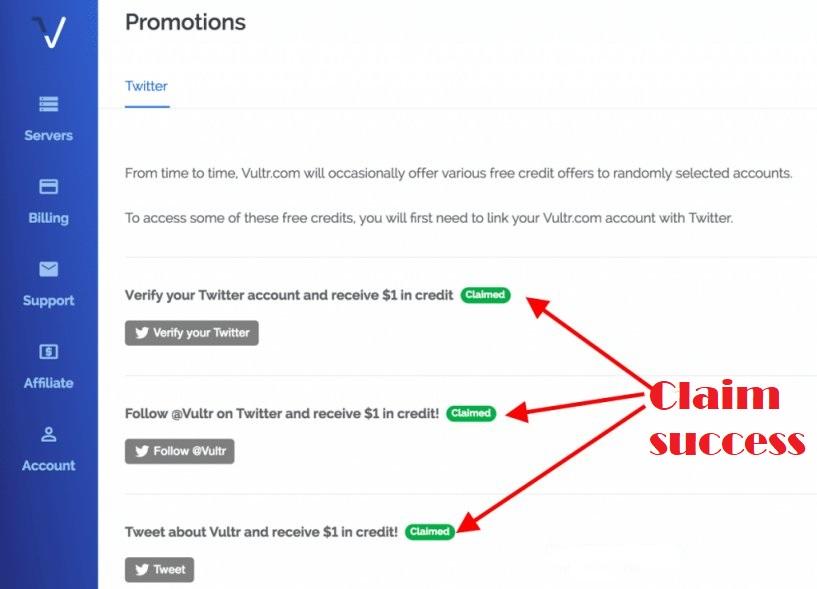 Vultr Free Credit of 3 dollars success