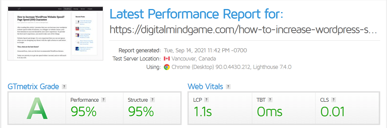 page speed test score